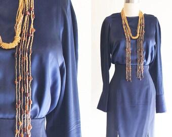 Vintage Valerie Stevens Navy Blue Satin Silk Blouse Size 4