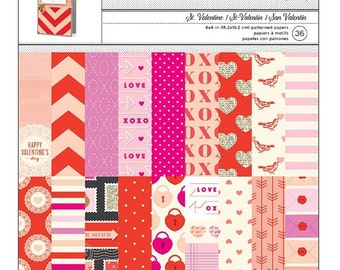 Valentines 6x6 Patterned Scrapbook Paper Pad