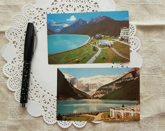 Vintage Postcards of Lake Louise, Banff National Park in Alberta Canada with the Rocky Mountains