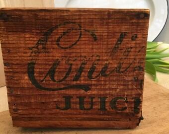 Vintage Wood Fruit Box with Lid