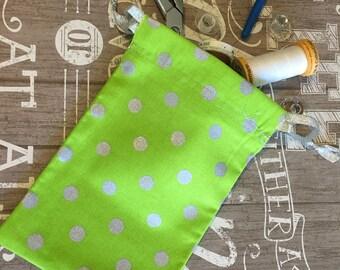 Green Polka Dot Gift Bag, Fabric Gift Bags, Cotton Gift Bags, Handmade Gift Bags