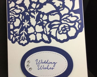 Wedding Card, Wedding Wishes, Navy Wedding Card, Fancy Handmade Card, Stampin' Up! Designs