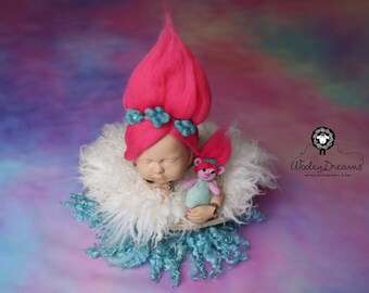 Felted Poppy troll hair and matching Poppy stuffy, newborn photoraphy prop set