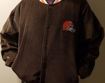 Vintage Cleveland Browns Corduroy Jacket Coat Size Large Inside is Quilted Very Nice