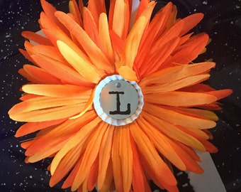 Orange and black daisy L headband-3-6 m