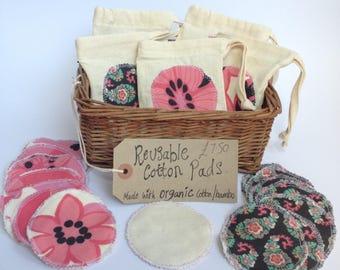 Coton réutilisable rond coton bio, lingettes visage réutilisables, zéro déchet, zéro déchets de soins du corps, visage lingettes, coton bio