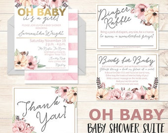 Oh Baby Baby Shower Invitation, It's A Girl Baby Shower, Oh Baby Baby Shower Suite, It's A Girl Babyshower Invitation, Gold Floral Baby