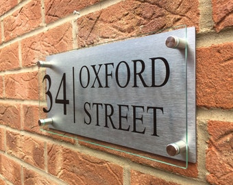 Modern house sign plaque door number street or house name glass effect aluminium XL sizes avaliable