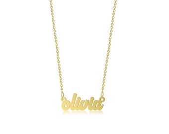 14K Solid Yellow Gold Personalized Custom Name Pendant Rolo Chain Necklace Set - Polished Cursive Alphabet Letter Charm