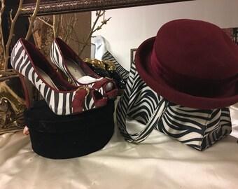 Zebra Burgundy Heels