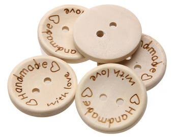 100 Pcs Handmade with Love Wooden Buttons