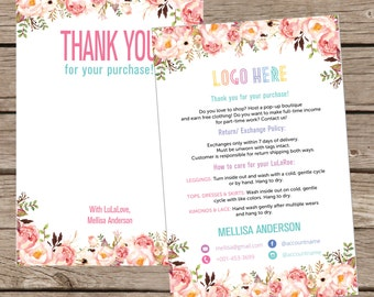 Thank You Card, Personalization, Home Office Approved, Fashion Retailer, Return/Care/Policy, Post Card, Instruction Return Exchange LLR006