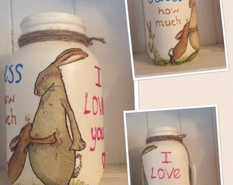 Guess how much I love you handpainted mason jar, baby shower, baby gift, ready to ship