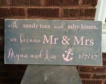 Beach Wedding Wood Sign