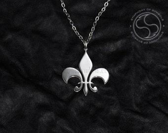 Fleur de Lis Symbol Pendant Stainless Steel Jewelry Lily Necklace Keychain Logo Flower de Luce Emblem Amulet Talisman Charm Sign Medallion
