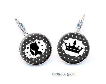 Earrings Princess Crown, black, white polka dots, surgical steel hooks, ref.208