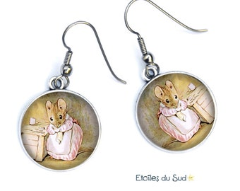 Cabochons, humanized mice earrings, surgical steel, ref:297