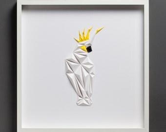 Paper Art: White Parrot