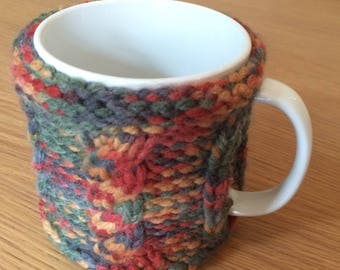 Hand knitted mug hugger - mug or cup warmer cosy/cozy - 3 colour options