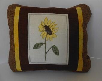 Sunflower Pillow, Accent Pillow, Hand Painted Sunflower Pillow, Unique Sunflower Pillow, Yellow Flower Pillow, One of a Kind Accent Pillow