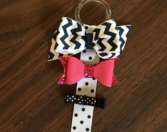 Hair bow holder, black and white hair bow holder, polka dots