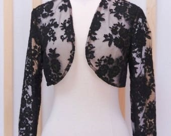 Bridal bolero, lace bolero, black bolero, bridal jacket, lace jacket
