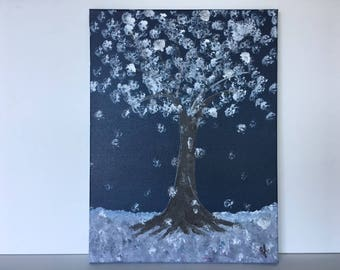 "Winter Blue - wall decor acrylic painting 12""x16"" canvas stretched/wrapped on 5/8"" bars"