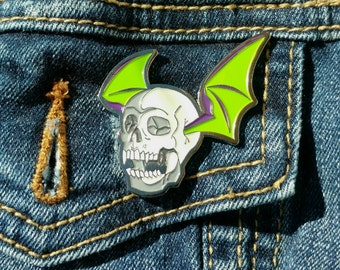 "Selfish Reasons - 1.75"" Soft Enamel Vampire Skull Bat Halloween Pin"