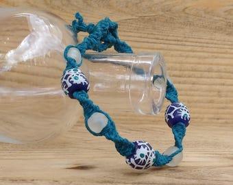 SALE - Fair Trade Recycled Glass Bead on a Hemp Bracelet - 15% off all items -  Eco-friendly, Sustainable, Ethical, Unique. Boho, Hippie.