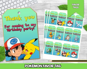 Pokemon Thank you Tags Instant download, Pokemon Chalkboard tags, Pokemon party Thank you Tags