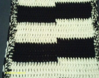 Long Black an White Abstract Scarf