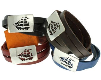 Sailboat, Leather Bracelet with Sterling Silver Plate