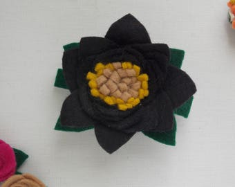 Black wool felt flower barrette