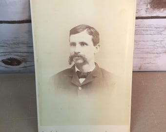 "Vintage Cabinet Card Photo Picture Man With Mustache 6.5"" X 4"""