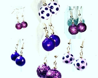 Bauble Earrings. Polkadot Earrings. Glitter Purple Earrings BluesBakkerij