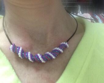 Purple and White Beaded Bead