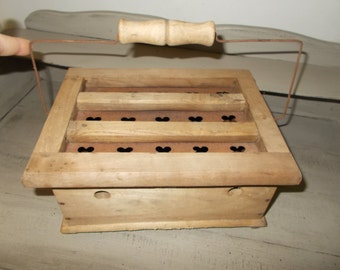 Antique Vintage French Wooden Carriage Foot Warmer with intact internal metal box