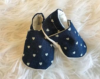 Denim baby booties