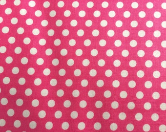Pink Dot Fabric - Michael Miller Princess Kiss Dot Fabric - Pink and White Polka Dot Material