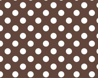 Brown Polka Dot Fabric - Riley Blake Medium Dot - Brown and White Dot Fabric