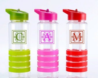 Monogram Water Bottle with straw