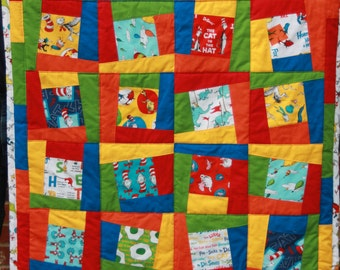 Dr. Seuss Crib Quilt, lap quilt, Dr. Seuss, Primary Colors, Cat in the Hat, Horton Hears a Who, The Grinch, Thing 1 and Thing 2,