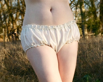 Louise Bloomers - Custom-made 100% Cream Cotton Muslin - Drawers / Panties / Hipster Brief - Adult / Women - Moth & Rust Handmade in Kansas