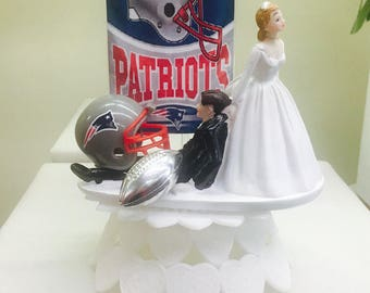 Patriots wedding cake topper, football cake topper, bride dragging groom topper, NFL cake topper, funny cake topper. 10 teams available