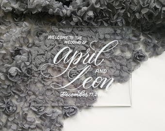 "Acrylic Wedding Welcome sign - Custom Calligraphy - Table top wedding decor 8""x10"""