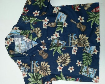 Infant and Boys Hawaiian shirts Around the Island Navy