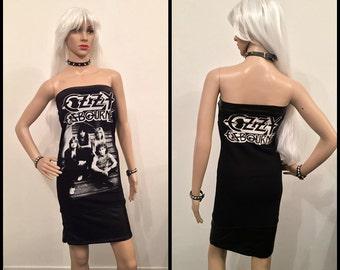 Ozzy Osbourne Faux Leather Strapless Dress Handmade Custom Black metal Hard Rock Black Sabbath