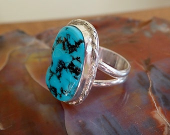 Sterling Silver Sleeping Beauty Turquoise Ring. Silver ring. Turquoise Jewelry. Sterling Sleeping Beauty. December Birthstone. Size 9