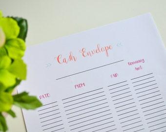 Dave Ramsey Cash Envelope Tracker, Budget Binder Printable, Cash Envelope Printable, Household Binder, Finance Planner