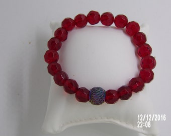 B1240  Red Glass Beaded Bracelet with small decorative Connector.